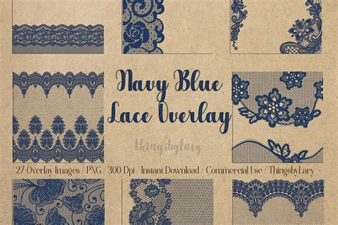 navy blue lace border frame overlay transparent images