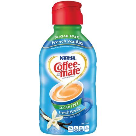 Sugar free coffee mate liquid creamer provides an easy way to transform your coffee into flavorful deliciousness, whether it's your morning cup or sugar free french vanilla creamer transforms every cup with warm, rich flavor. COFFEE-MATE French Vanilla Sugar Free Liquid Coffee Creamer 64 fl. oz. Bottle - Walmart.com