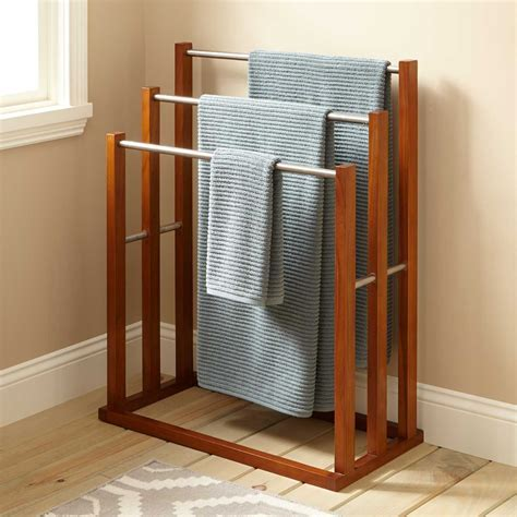Celine Teak Towel Hanger with 3 Tiers   Bathroom