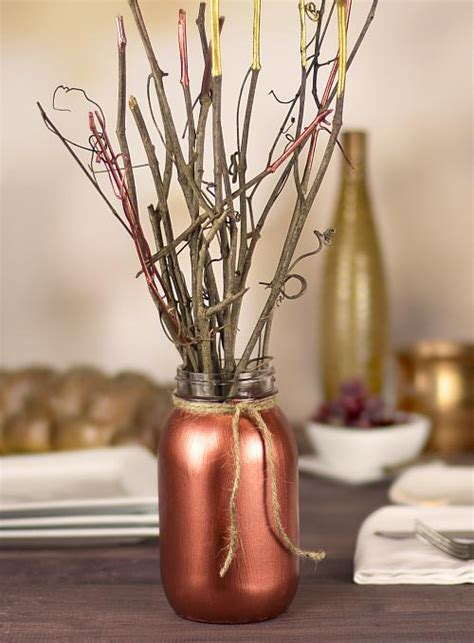 fall metallic twig centerpiece project  decoart