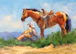 Brown Western Artist Cowboy On Horse Painting