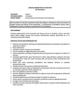 assistant description duties administrative assistant description template 9 free word pdf format free