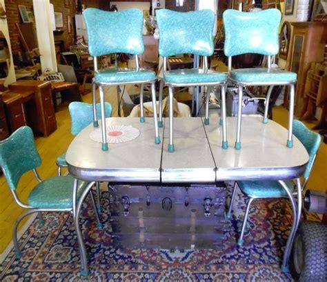chromcraft turquoise green kitchen chair set