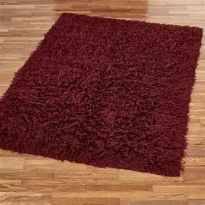 Burgundy flokati wool shag area rugs for Burgundy kitchen rugs