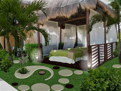 diseno de jardines pequenos palapa de masage  spa hotel