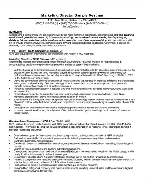 Director Of Marketing Resume by 23 Marketing Resume Templates Free Premium Templates