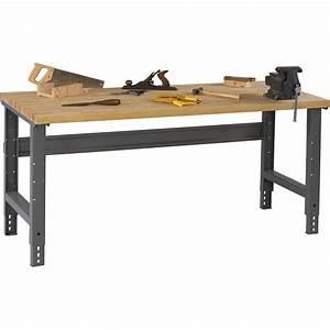 Tennsco Adjustable Workbench — Wood Top, 60in W x 30in D