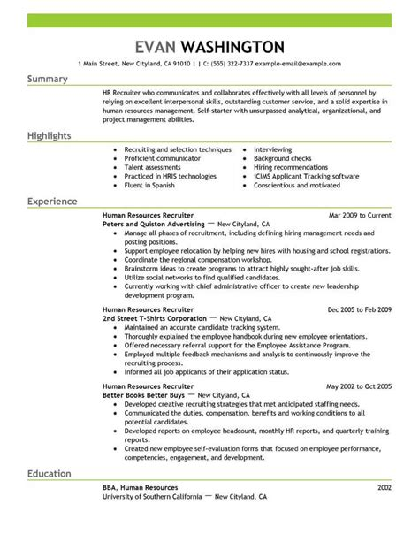 Employment Resume by Best Recruiting And Employment Resume Exle Livecareer