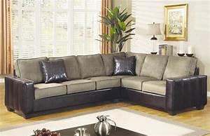 Beige microfiber stylish sectional sofa w dark vinyl base for Dark beige sectional sofa