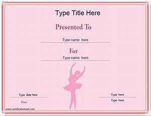 sports certificates ballet certificate template With dance certificate templates free download