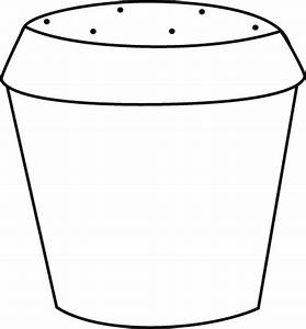 Black and White Dirt Filled Flower Pot Clip Art - Black ...