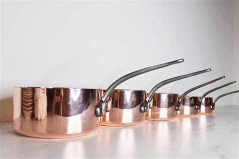copper cookware havard villedieu stamped copper pans  vintage copper pots french copper