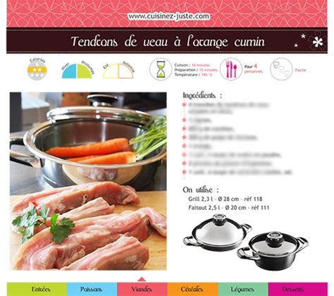 fiche recette cuisine fiche recette viande tendrons de veau à l 39 orange cumin