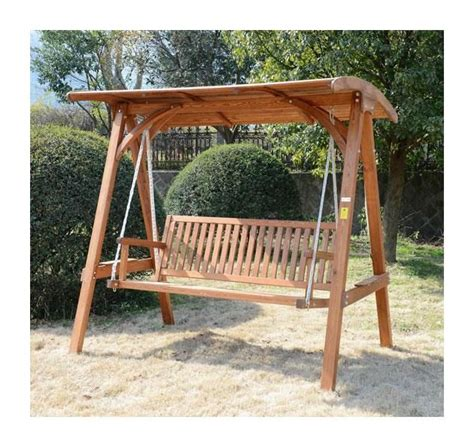 outsunny  seater larch wooden garden swing chair seat