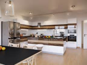 walnut kitchen ideas walnut and white gloss kitchen interior design ideas