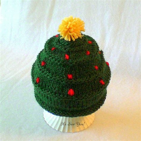 baby christmas tree hat knitting pinterest