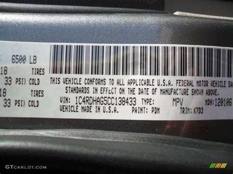 2012 durango color code pdm for mineral gray metallic
