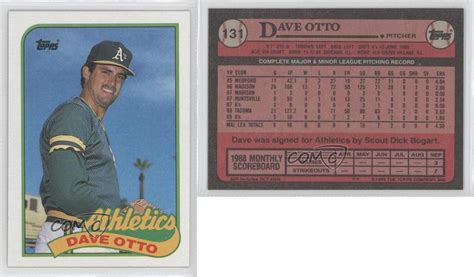 1989 Upper Deck Error Cards by 1989 Topps 131 Dave Otto Oakland Athletics Baseball Card