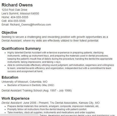 curriculum vitae for dental assistant 5 best dental assistant resume