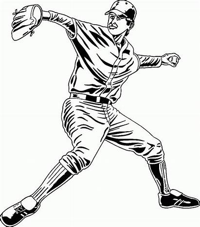 Baseball Pitcher Coloring A251 Dibujos Basebol Printable