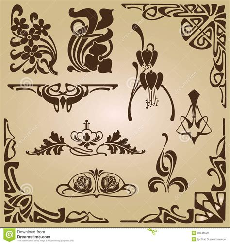 art nouveau style ls art nouveau elements and corners design ornament