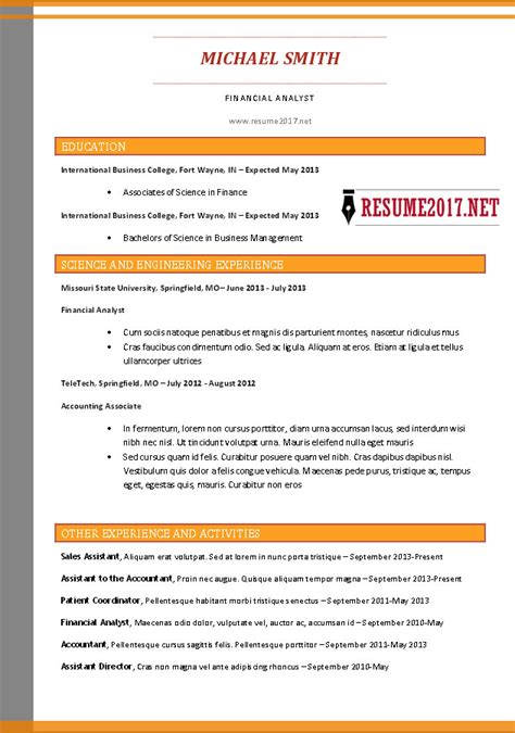 combination resume format 2017