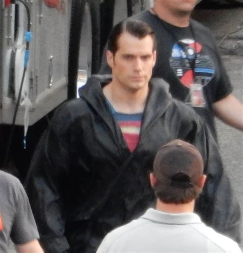 Henry Cavill In A Black Robe Over Superman Costume On Set