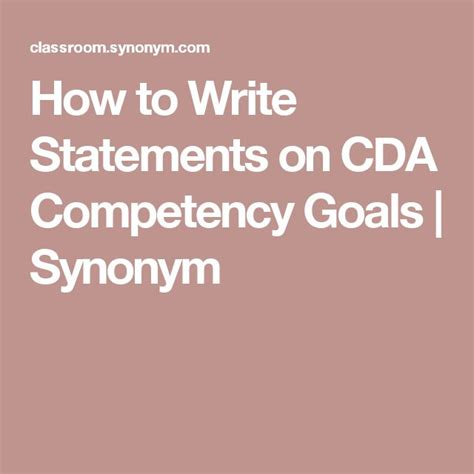 write statements  cda competency goals synonym
