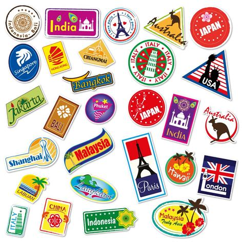 stickers cuisine design travel locations suitcase stickers set of 28