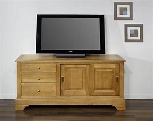 Meuble Tv En Chene : meuble tv arnaud en ch ne massif de style louis philippe portes coulissantes meuble en ch ne ~ Teatrodelosmanantiales.com Idées de Décoration
