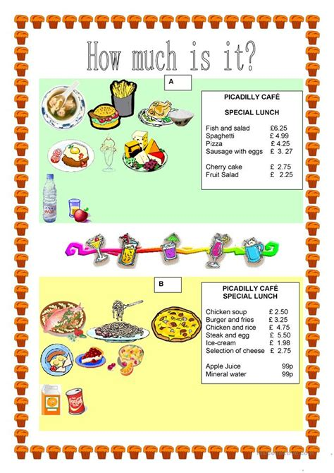 How Much Is by Pairwork Food How Much Is It Worksheet Free Esl