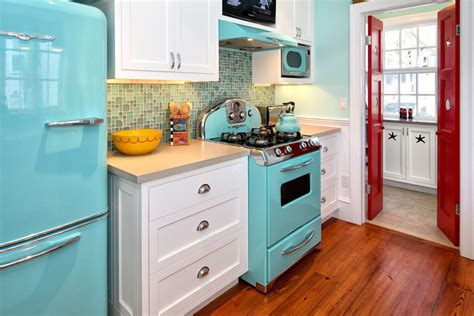 Retro-style-furniture-kitchen-rustic-with-blue-appliances