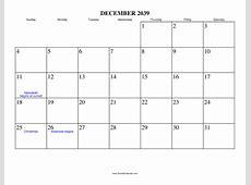 December 2039 Calendar