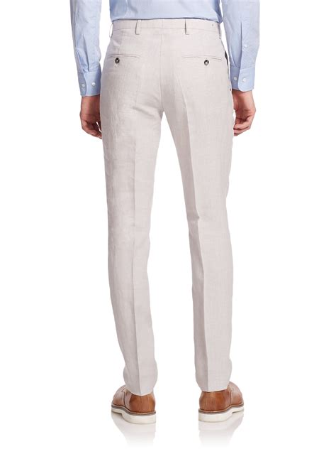 mens light grey dress pants j lindeberg structured linen dress pants in gray for men