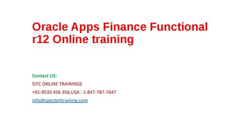 oracle apps finance functional r12 by