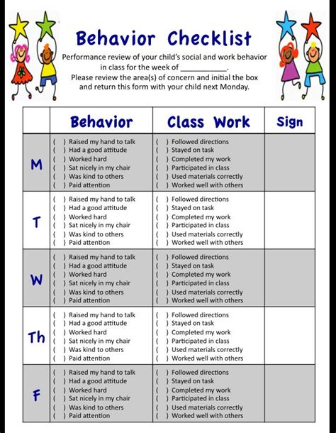 my weekly behavior checklist for students social and 630 | e59bbab769877797e754442b3cbf45a3 behavior sheet behavior contract