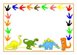 dinosaur themed  page borders sb sparklebox