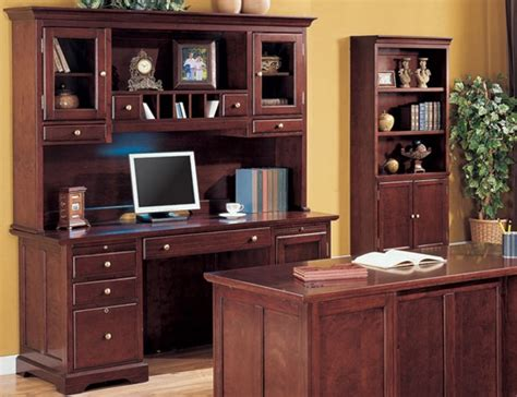 Home Office Credenza - home office credenza with hutch in rich cherry finish by