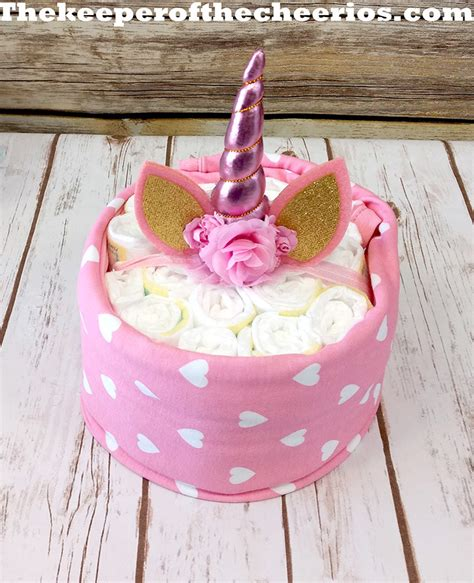 unicorn diaper cake  keeper   cheerios