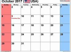 October 2017 Calendar Word monthly calendar 2017