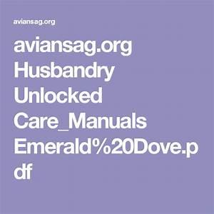 Aviansag Org Husbandry Unlocked Care Manuals Emerald