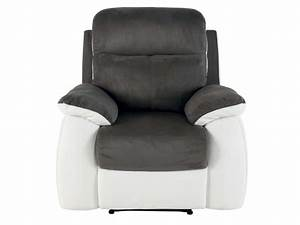 fauteuil relaxation white coloris gris blanc en tissu pu With fauteuil relaxation