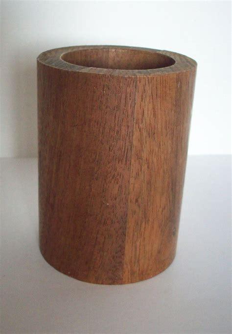 vintage pencil holder wood pencil  cup mahogany pencil