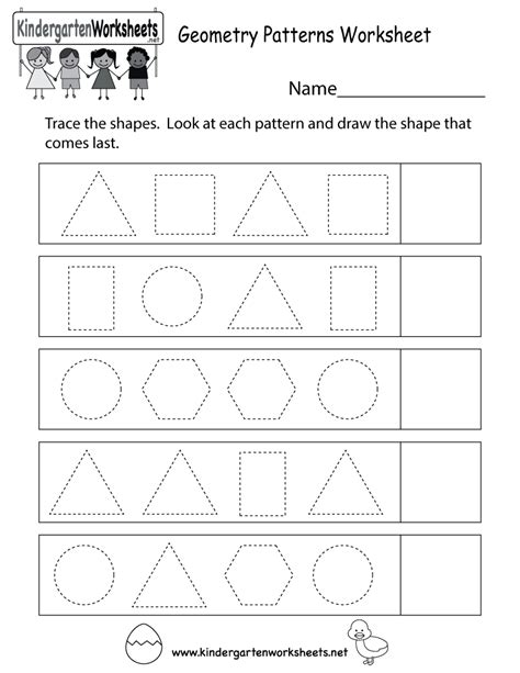 geometric shapes patterns worksheets world of exle