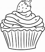 Cupcake Coloring Cupcakes Pages Birthday Strawberry Template Happy Drawing Line Colouring Printable Kitty Hello Sweets Sheets Drawings Shopkins Getdrawings Getcolorings sketch template
