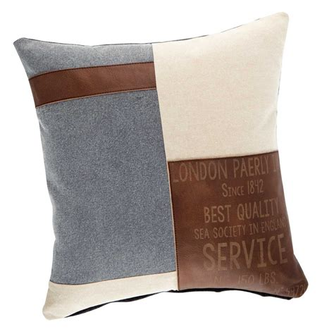 canapé lit vintage coussin en coton beige et marron 50 x 50 cm navy maisons