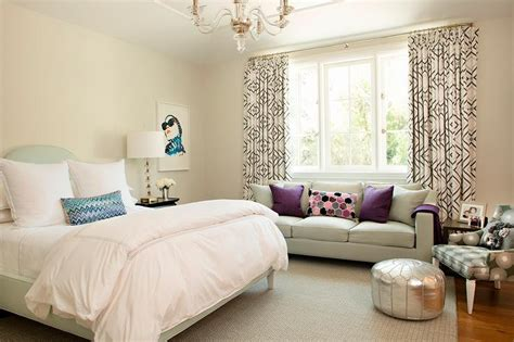teenage girl bedroom  gray sofa  window seat