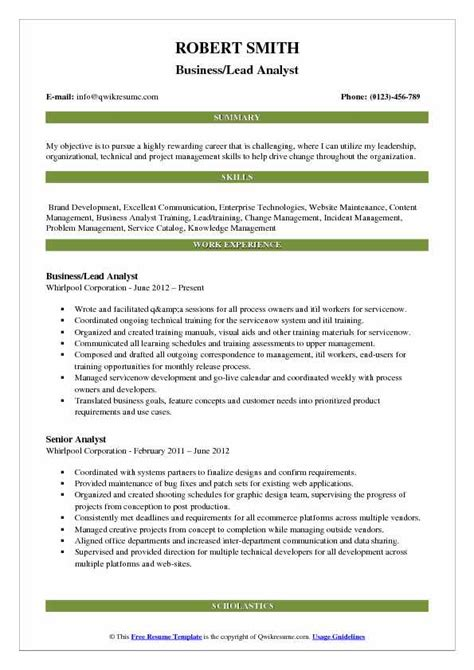 lead analyst resume sles qwikresume