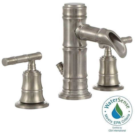 pegasus bamboo faucet brushed nickel pegasus bamboo series 8 in widespread 2 handle low arc