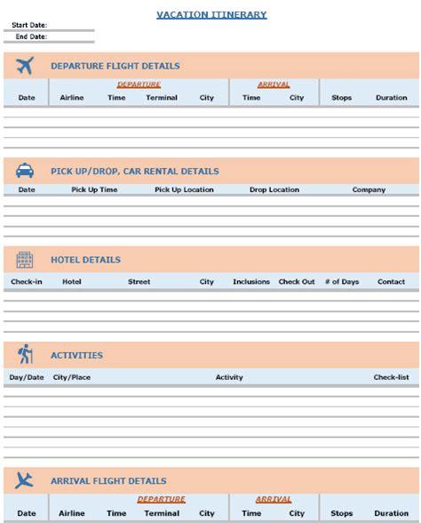 travel itinerary templates vacation trip